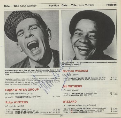 Norman Wisdom Page From The Guinness Book Of British Hit Singles memorabilia UK N/WMMPA659113