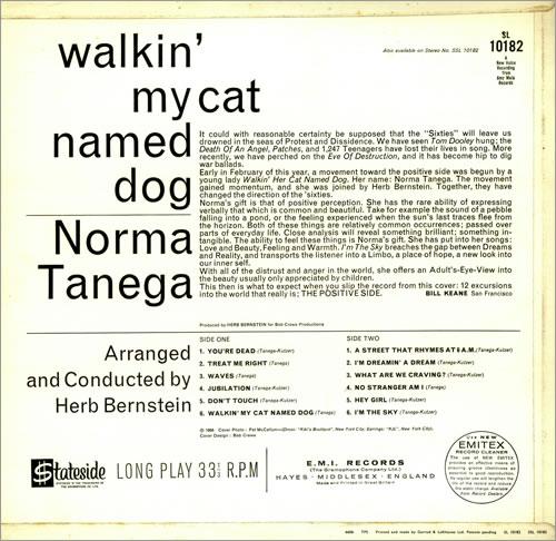 Norma Tanega Walkin' My Cat Named Dog - Factory Sample vinyl LP album (LP record) UK NRTLPWA456671