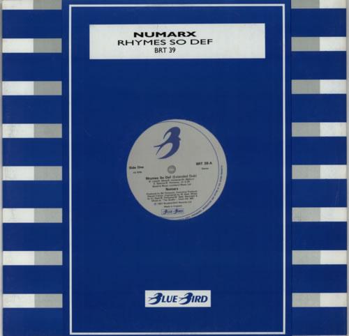 """Numarx Rhymes So Def 12"""" vinyl single (12 inch record / Maxi-single) UK N0M12RH605627"""