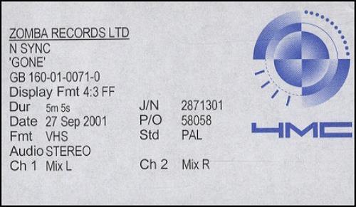 N Sync Gone video (VHS or PAL or NTSC) UK NSYVIGO199200