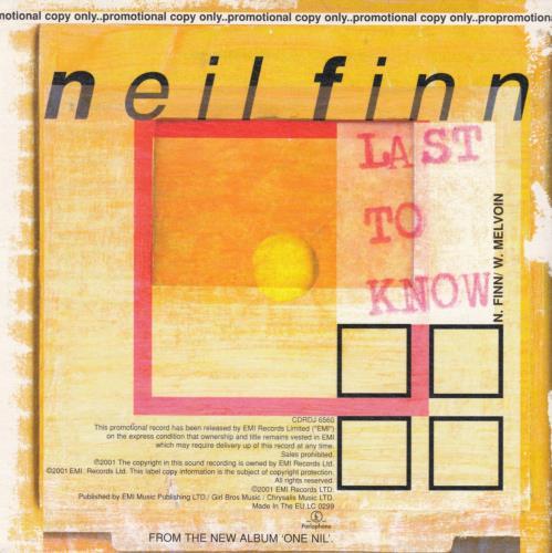 "Neil Finn Last To Know CD single (CD5 / 5"") UK NFNC5LA186744"