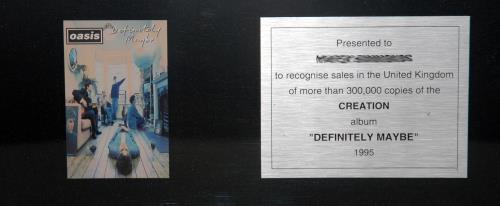 Oasis (UK) Definitely Maybe in-house award disc UK OASAIDE146000