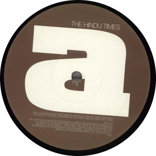 "Oasis (UK) The Hindu Times 12"" vinyl single (12 inch record / Maxi-single) UK OAS12TH212130"
