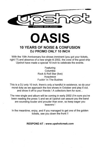 "Oasis 10 Years Of Noise & Confusion 10"" vinyl single (10"" record) UK OAS10YE199869"