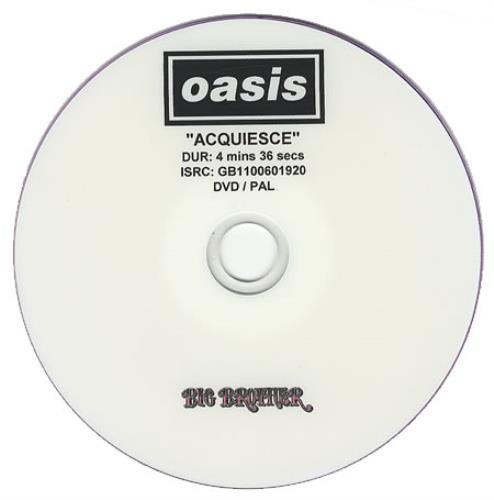 Oasis Acquiesce - Promotional DVD-R promo DVD-R UK OASDRAC380895