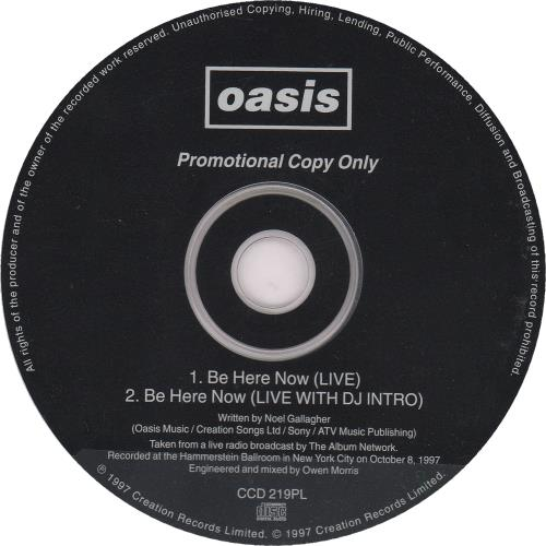 """Oasis Be Here Now (Live) CD single (CD5 / 5"""") UK OASC5BE106770"""