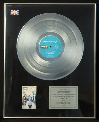 Oasis Definitely Maybe in-house award disc UK OASAIDE146000