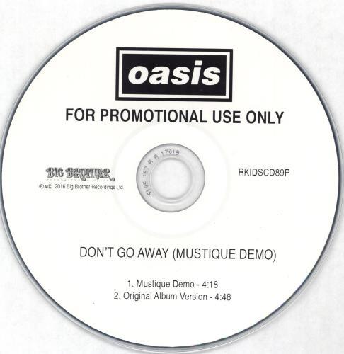"""Oasis Don't Go Away CD single (CD5 / 5"""") UK OASC5DO725106"""