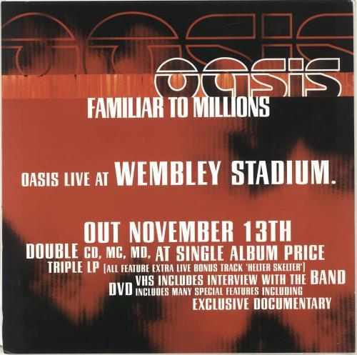 "Oasis Familiar To Millions - 12"" x 12"" poster UK OASPOFA696314"