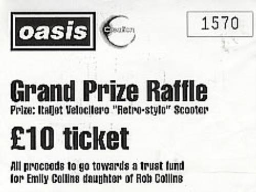 Oasis Grand Prize Raffle Ticket UK memorabilia (290741