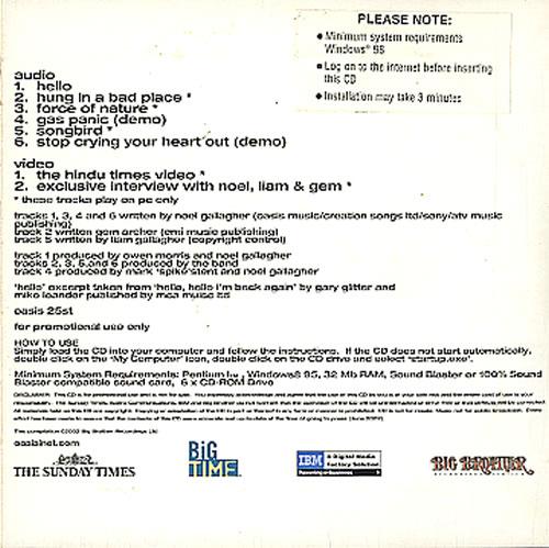 """Oasis Heathen Chemistry Sampler CD single (CD5 / 5"""") UK OASC5HE221734"""