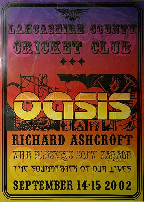 Oasis Lancashire County Cricket Club poster UK OASPOLA455771