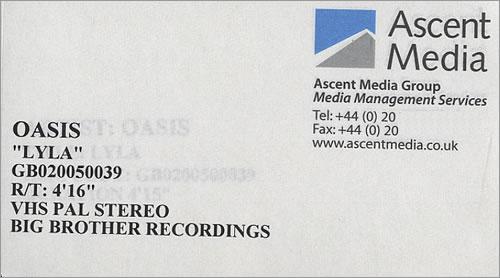 Oasis Lyla video (VHS or PAL or NTSC) UK OASVILY472569