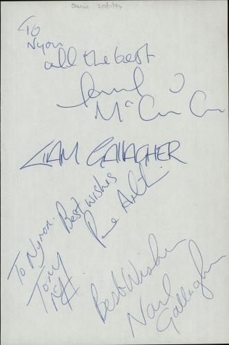 Oasis Page From An Autograph Book memorabilia UK OASMMPA654543