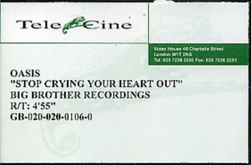 Oasis Stop Crying Your Heart Out video (VHS or PAL or NTSC) UK OASVIST248723