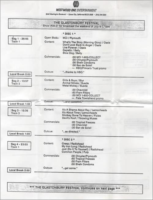 Oasis The Glasonbury Festival CD album (CDLP) US OASCDTH142331