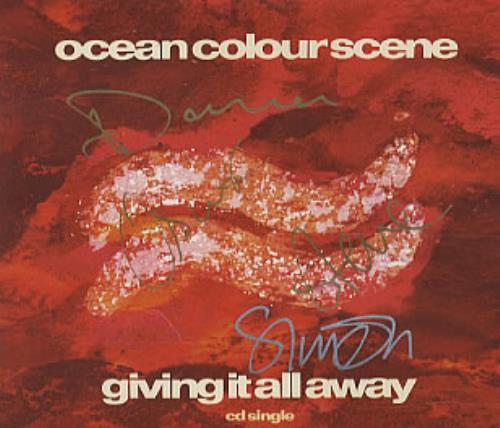 "Ocean Colour Scene Giving It All Away - Fully Autographed CD single (CD5 / 5"") UK OCSC5GI323193"