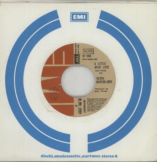 "Olivia Newton John A Little More Love - Company Sleeve 7"" vinyl single (7 inch record) Italian ONJ07AL641426"