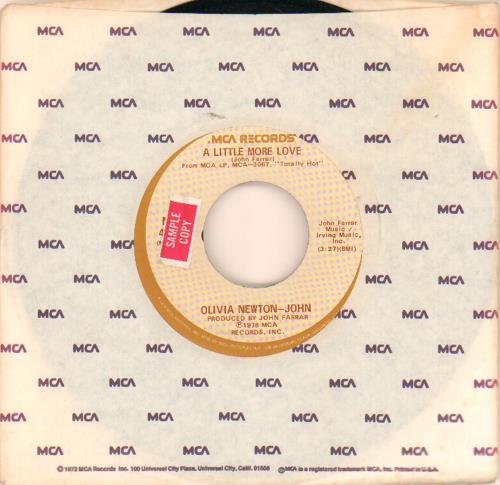 "Olivia Newton John A Little More Love - Sample 7"" vinyl single (7 inch record) US ONJ07AL649159"