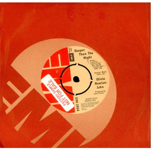 "Olivia Newton John Deeper Than The Night - Factory Sample 7"" vinyl single (7 inch record) UK ONJ07DE415728"