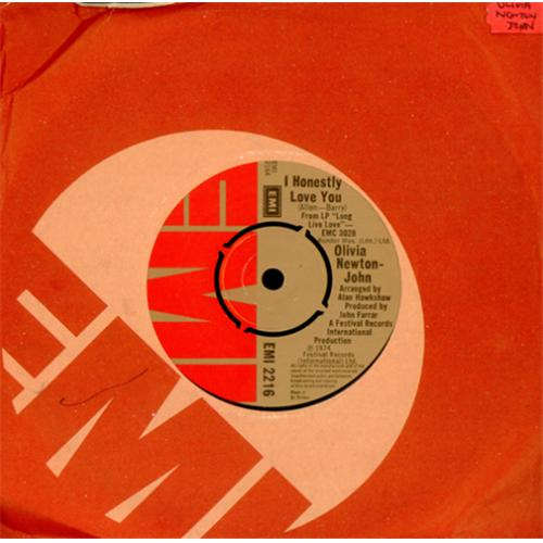 "Olivia Newton John I Honestly Love You 7"" vinyl single (7 inch record) UK ONJ07IH415002"