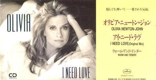"Olivia Newton John I Need Love 3"" CD single (CD3) Japanese ONJC3IN08497"