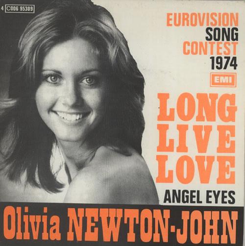 "Olivia Newton John Long Live Love - smooth sleeve - orange titles 7"" vinyl single (7 inch record) Belgian ONJ07LO44195"