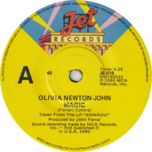"Olivia Newton John Magic 7"" vinyl single (7 inch record) Australian ONJ07MA76119"