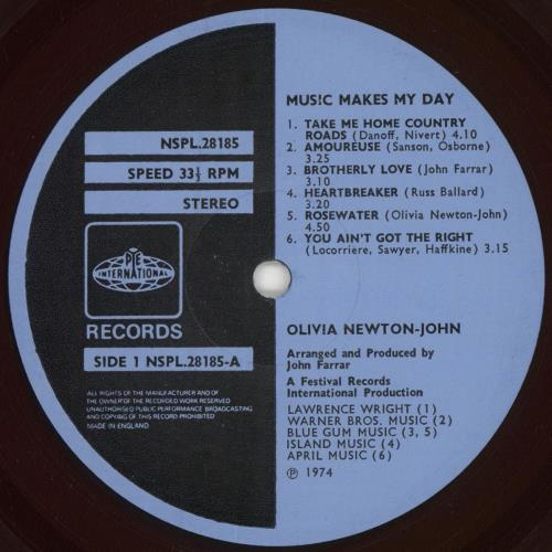 Olivia Newton John Music Makes My Day - Blue Label vinyl LP album (LP record) UK ONJLPMU05796