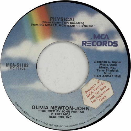 "Olivia Newton John Physical - Promo Stickered 7"" vinyl single (7 inch record) US ONJ07PH649092"