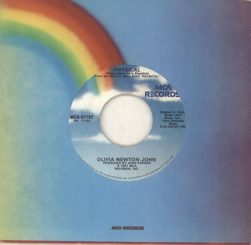 "Olivia Newton John Physical - Wide Centre US 7"" vinyl single (7 inch  record) (743633)"