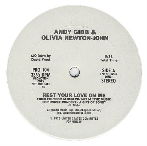 "Olivia Newton John Rest Your Love On Me 12"" vinyl single (12 inch record / Maxi-single) US ONJ12RE58122"