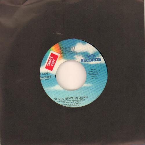 """Olivia Newton John Soul Kiss - Sample 7"""" vinyl single (7 inch record) US ONJ07SO649090"""