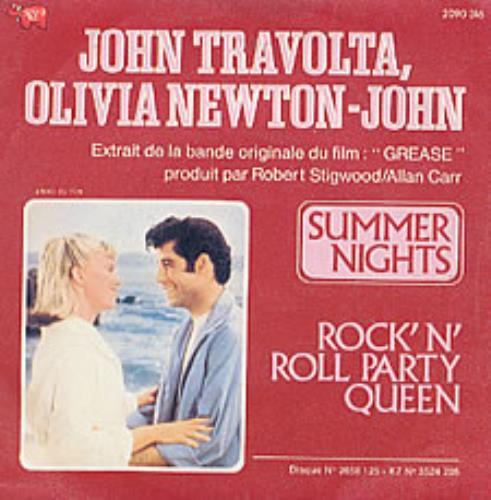"Olivia Newton John Summer Nights 7"" vinyl single (7 inch record) French ONJ07SU62746"
