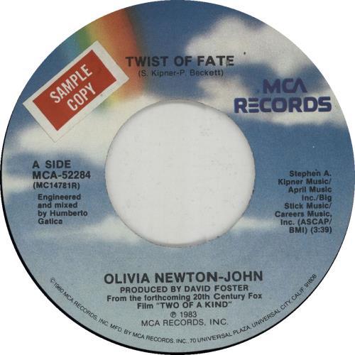 "Olivia Newton John Twist Of Fate - Sample 7"" vinyl single (7 inch record) US ONJ07TW649091"