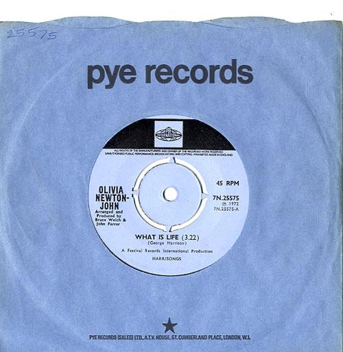 "Olivia Newton John What Is Life - 4pr 7"" vinyl single (7 inch record) UK ONJ07WH44890"
