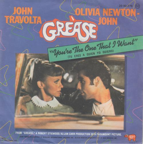 "Olivia Newton John You're The One That I Want 7"" vinyl single (7 inch record) Spanish ONJ07YO45295"