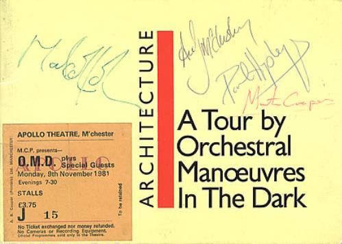 OMD 1981 Architecture & Morality Tour - Autographed! tour programme UK OMDTRAR356333
