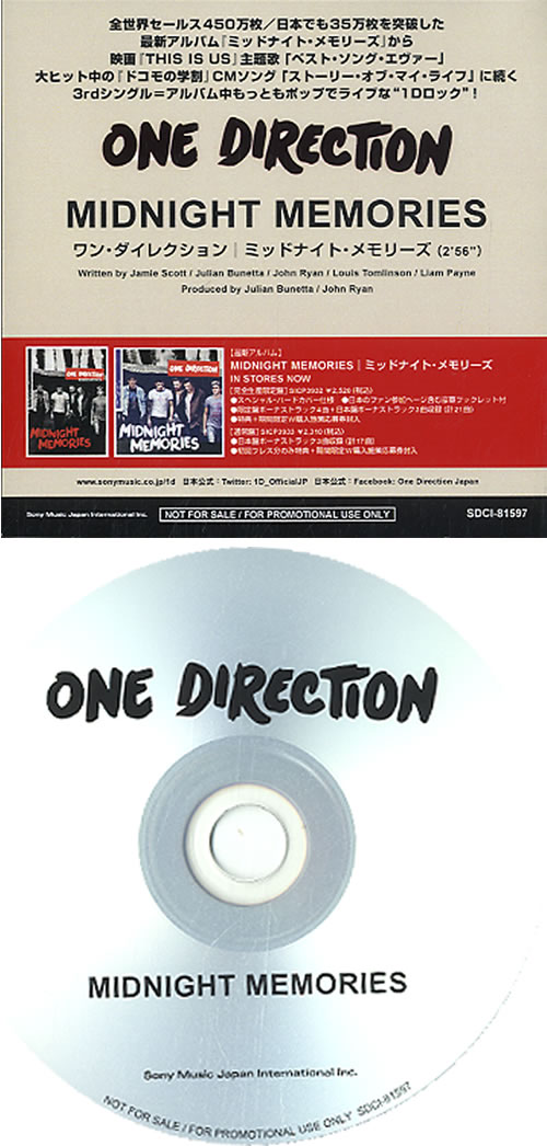 One Direction Midnight Memories Japanese Promo CD-R acetate