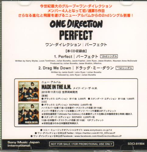 One Direction Perfect CD-R acetate Japanese OO5CRPE645727