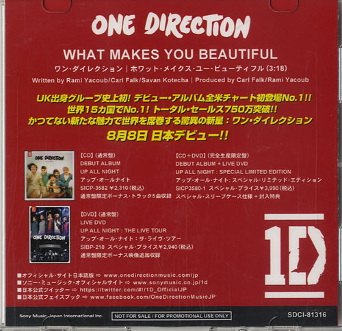 One Direction What Makes You Beautiful CD-R acetate Japanese OO5CRWH572545