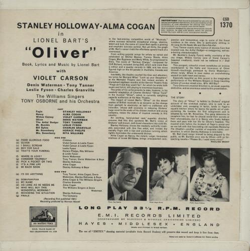 Original Cast Recording Oliver - London Studio Cast Album vinyl LP album (LP record) UK 1OCLPOL751841