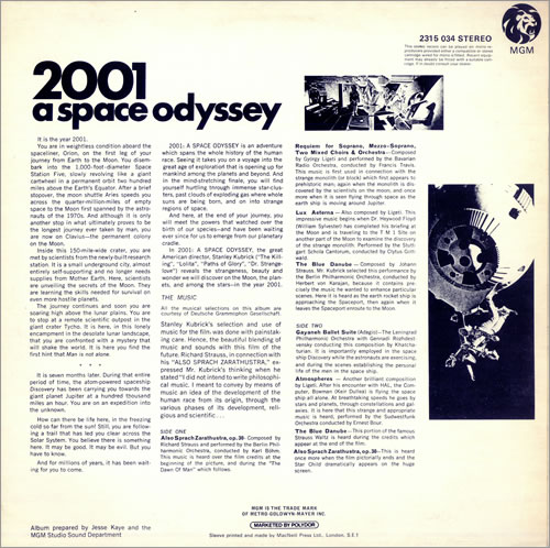 Original Soundtrack 2001: A Space Odyssey vinyl LP album (LP record) UK OSTLPAS131194