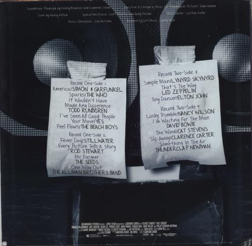 Original Soundtrack Almost Famous - Autographed by Frances McDormand 2-LP vinyl record set (Double Album) US OST2LAL769090