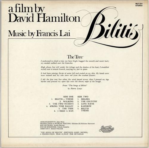 Original Soundtrack Bilitis vinyl LP album (LP record) Australian OSTLPBI766103