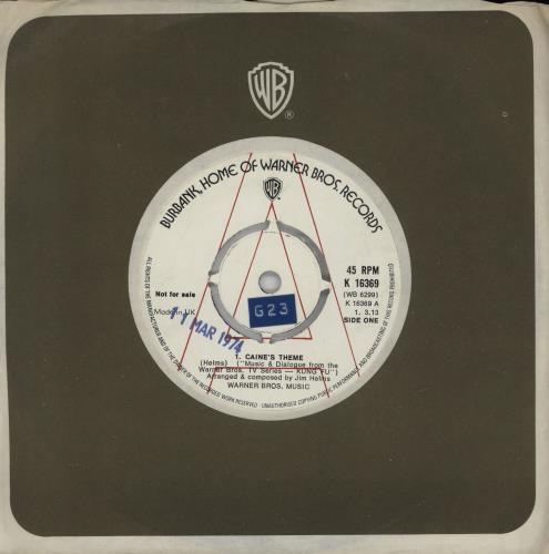 "Original Soundtrack Caine's Theme 7"" vinyl single (7 inch record) UK OST07CA750546"