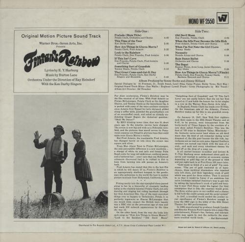 Original Soundtrack Finian's Rainbow vinyl LP album (LP record) UK OSTLPFI496813
