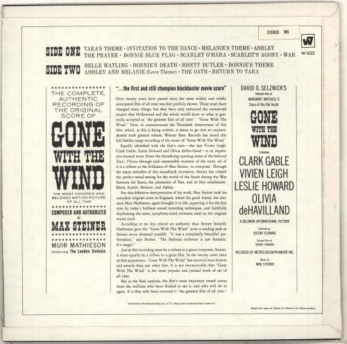 Original Soundtrack Gone With The Wind vinyl LP album (LP record) UK OSTLPGO714220