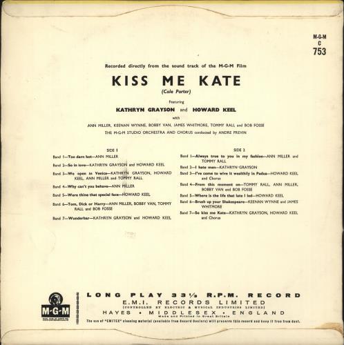 Original Soundtrack Kiss Me Kate vinyl LP album (LP record) UK OSTLPKI714274