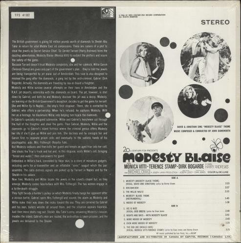 Original Soundtrack Modesty Blaise - shrink vinyl LP album (LP record) Canadian OSTLPMO769055